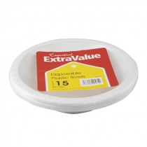 SUPER VALU PLASTIC WHITE LARGE BOWLS 18cm EACH