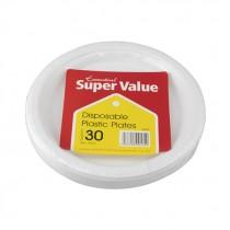 SUPER VALUE WHITE PLASTIC PLATES 18cm EACH