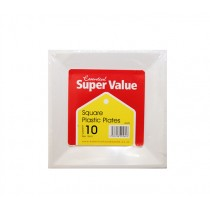 SUPER VALU SQUARE WHITE PLATES 18cm EACH
