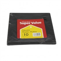 SUPER VALU SQUARE BLACK PLATES 18cm EACH