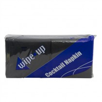 WIPE UP COCTAIL NAPKINS 2PLY (BLACK)  1/8 BOX